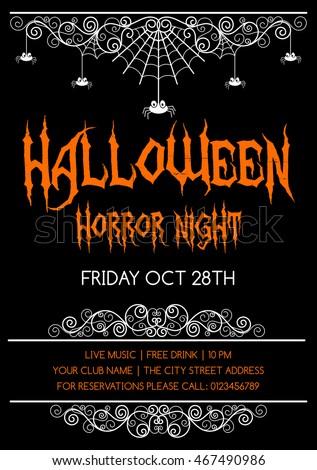Halloween Poster Flyer Invitation Design Template Vector De Stock