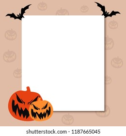 Halloween poster, flyer and template design illustration with pumpkin and bat.