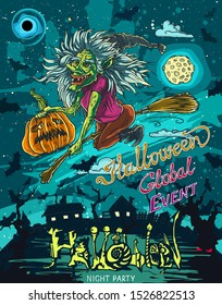 Halloween poster with flying witch riding broom with pumpkin drawing by ink in vector. Hand drawn illustration.