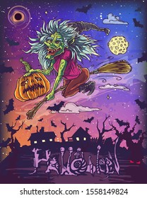Halloween poster with flying witch riding broom with pumpkin in vector. Hand drawn illustration with Halloween pumpkin.