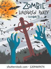 Halloween poster with grunge background,zombie hands,graveyard,full moon and bats.Halloween design perfect for prints,flyers,banners invitations,greetings and more.Vector Halloween illustration.