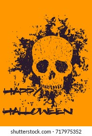 halloween poster with grunge skull