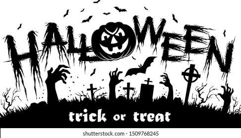 Halloween poster with horror elements: zombie hands, pumpkin, bat. Illustration, vector