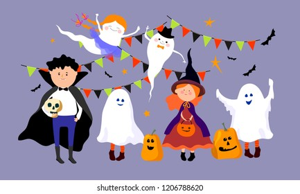 Halloween poster with kids in costumes for Happy Halloween party.Vector illustration.