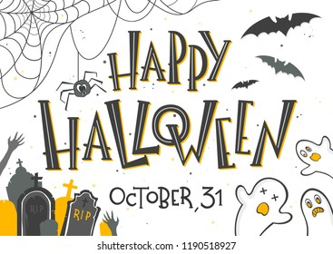 Halloween poster with lettering,ghosts,bats and spider.Halloween design perfect for prints,flyers,banners invitations,greeting scrapbooking,congratulations and more.Vector Halloween illustration.