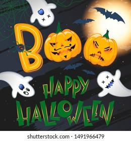 Halloween poster with lettering,grunge background,pumpkins,bats and ghosts.Halloween design perfect for prints,flyers,banners invitations,greetings.Vector Halloween illustration.Trick or treat.
