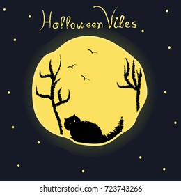 Halloween poster with moon,stars,black cat,trees and flying birds.Halloween vibes typography design.Trendy October poster,banner.Vector illustration.