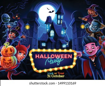 halloween poster for party illustration cartoon