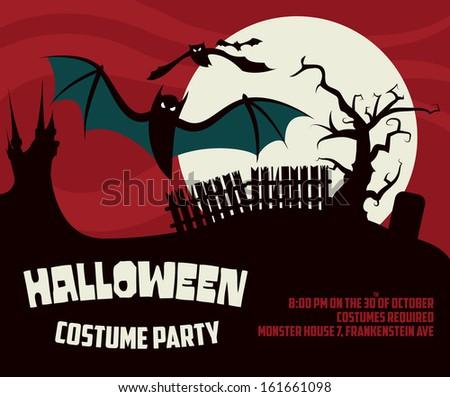 halloween poster template graveyard scenery bats stock vector