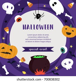 Halloween poster template for special event advertisement. Vector illustration