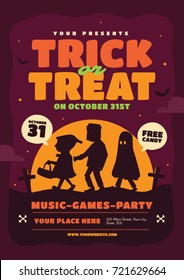 Halloween poster template. Trick or treat vector Illustration.