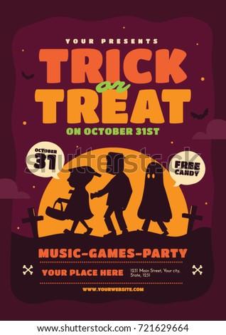 halloween poster template trick treat vector のベクター画像素材