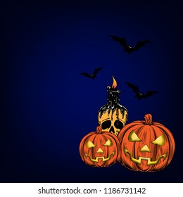 Halloween poster, wallpaper and flyer design with pumpkin and scary candle illustration.