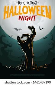 halloween poster zombie hand rooten from ground