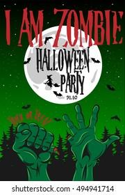 Halloween Poster I am Zombie Vector