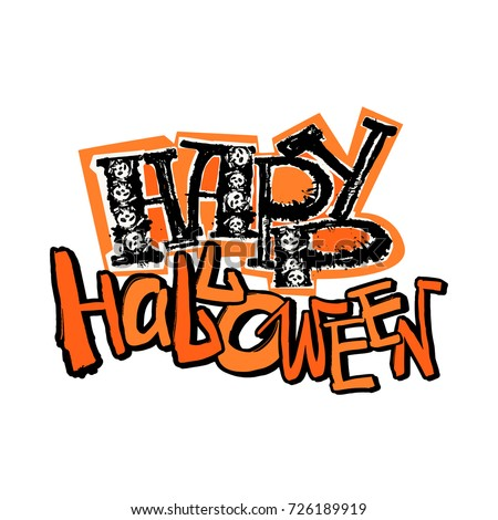 halloween poster hand drawn textured funky ink stock vector royalty