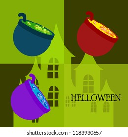 Halloween pot with potion night vector