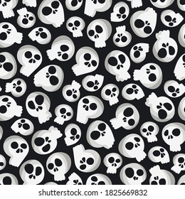 Halloween print. Skulls. Cartoon doodles pattern. Seamless background.