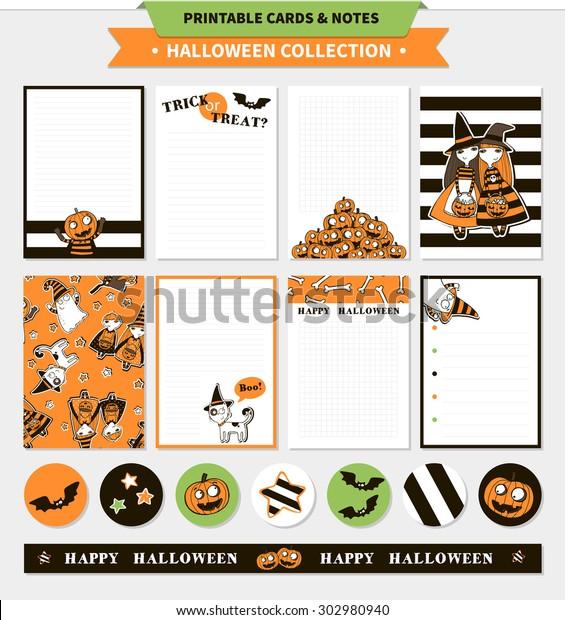 image regarding Happy Halloween Cards Printable named Halloween Printable Vector Playing cards Notes Cartoon Inventory Vector