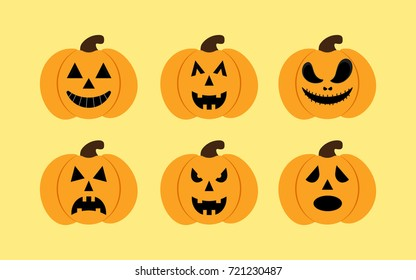 halloween pumkin vector orange icons set, set of orange pumkin emoticons