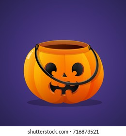 Halloween pumpkin basket empty on violet background