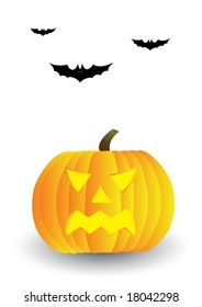Halloween pumpkin and bats