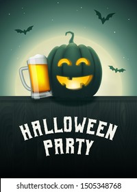 Halloween pumpkin beer party poster. Drunk Jack-o-lantern with beer mug. Scary background with moon and flying bats at night. Vector greeting card or invitation to a party