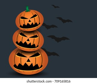 Halloween pumpkin with black bat on gray background holiday concept.