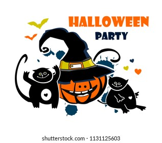 halloween pumpkin and black cat cartoon. Card, poster
