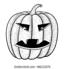 Evil Face Halloween Pumpkin Emotion Outline Stock Illustration
