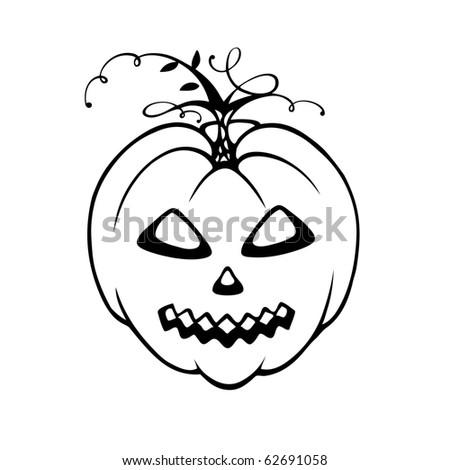 Halloween Pumpkin Black White Vector Stock Vector Royalty Free