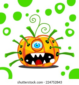 Halloween, pumpkin, cheerful monster, vector illustration
