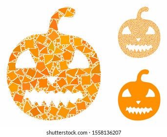 Halloween pumpkin composition of rugged items in different sizes and color tones, based on halloween pumpkin icon. Vector inequal items are grouped into collage.