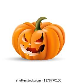 Halloween pumpkin with cunning face. Vector illustration