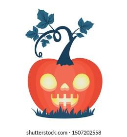 halloween pumpkin with dark face lamp