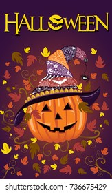 halloween pumpkin design with decorated witch hat