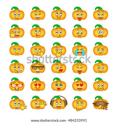Halloween Pumpkin Emoji Emoticons Set Smiley Stock Vector Royalty