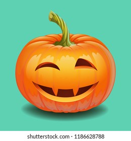 Halloween pumpkin face - funny smile and wink Jack o lantern, autumn holidays banner. Jack o lantern icon emotion. Vector illustration.