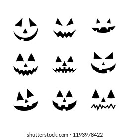 Halloween pumpkin faces icons set. Scary faces isolated on white background. Template for Halloween greeting card poster, brochure or flyer. Vector illustration