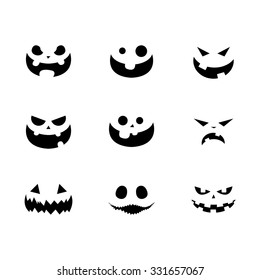 halloween pumpkin faces vector illustration