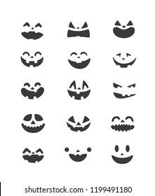 Halloween pumpkin faces vector set. Vector clipart