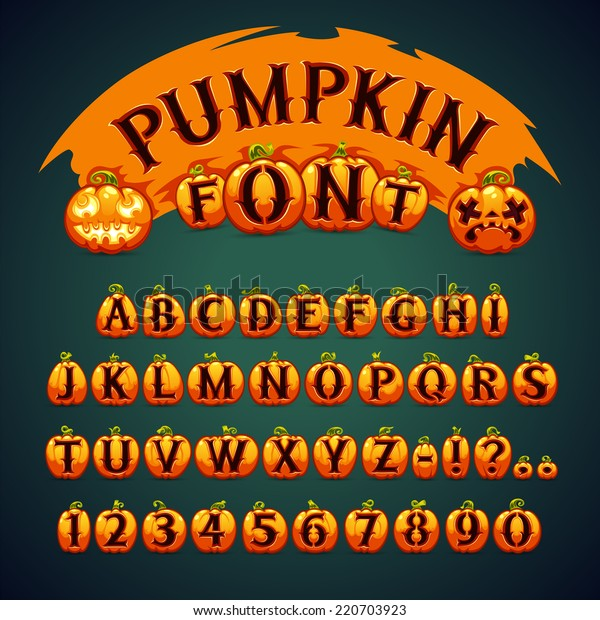Halloween Pumpkin Font. In the EPS file, each element is grouped separately.