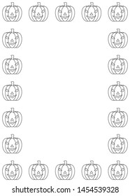 Halloween pumpkin frame. Outline vector illustration border isolated on white background. Coloring book page for children.