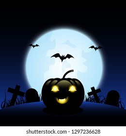 Halloween pumpkin full moon background.