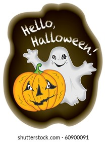 Halloween. Pumpkin and ghost