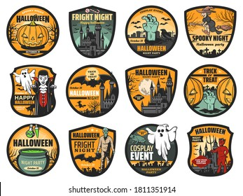 Halloween pumpkin, ghost and zombie vector badges. Horror night haunted houses with bats, moon and witch, Dracula vampire and trick or treat candies, devil demon and potion cauldron, Halloween themes