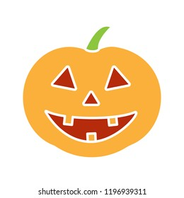 Halloween pumpkin glyph color icon. Autumn holidays. Halloween party decoration. Silhouette symbol on white background with no outline. Negative space. Vector illustration