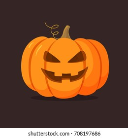 Halloween pumpkin with happy face on dark background. Vector cartoon Illustration.