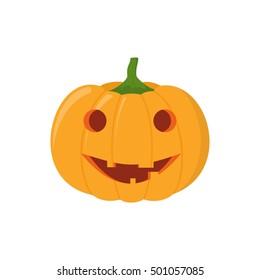 Halloween pumpkin head isolated on white background. Pumpkin head vector icon in flat style. Scary Halloween cartoon pumpkin.