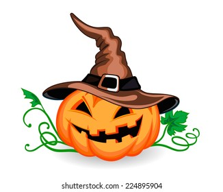 Halloween pumpkin in heat with green leaves. Vector illustration